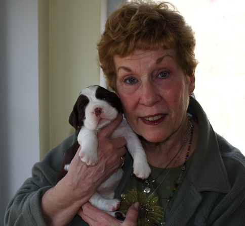 Judy with a puppy